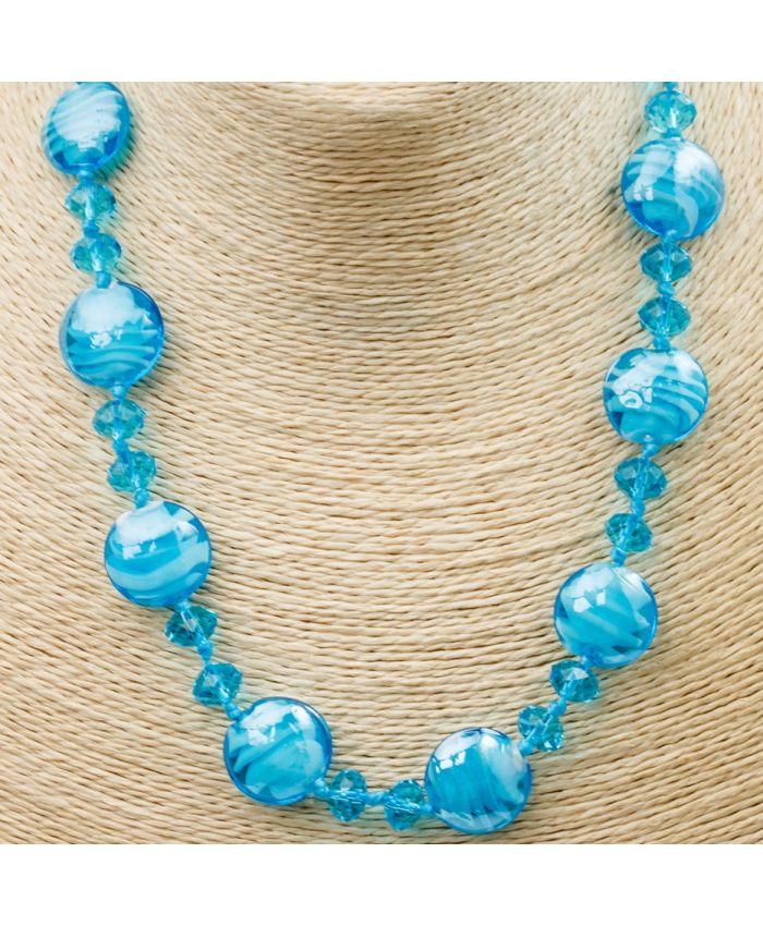 Комплект Бусы из муранского стекла - голубой