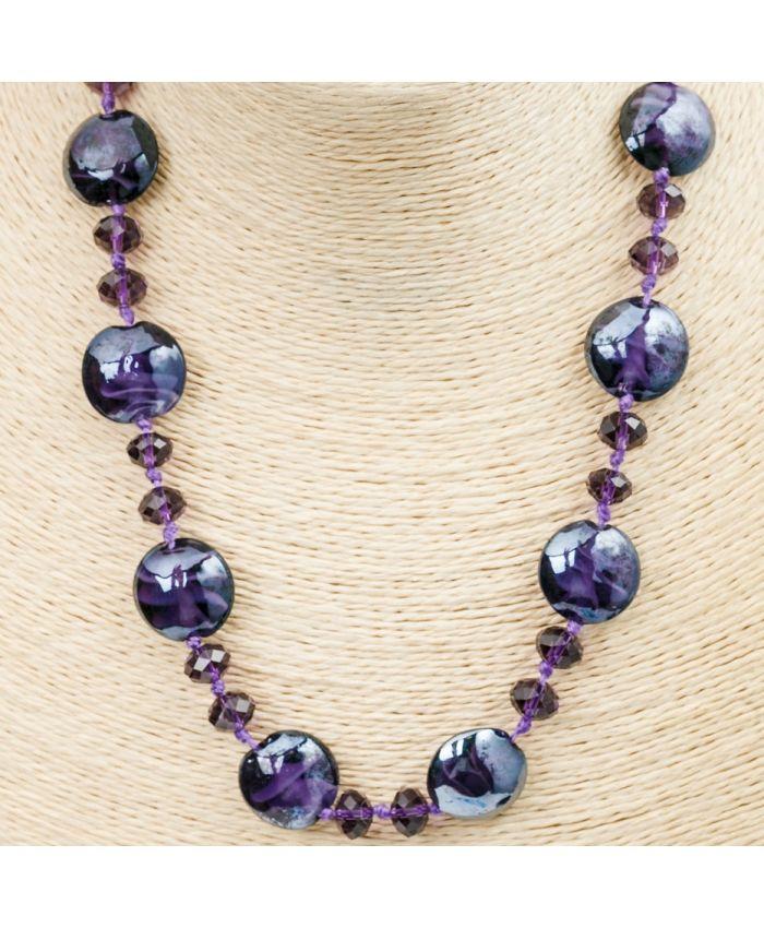 Комплект Бусы из муранского стекла - фиолетовый