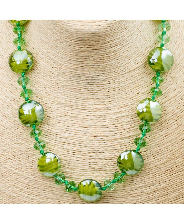 Комплект Бусы из муранского стекла - светло-зеленый