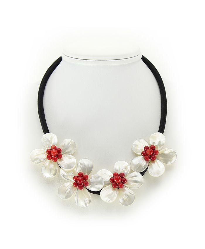 """Ожерелье перламутр с кораллом красным """"Фиалки"""", 4 цветка, короткое 48см"""