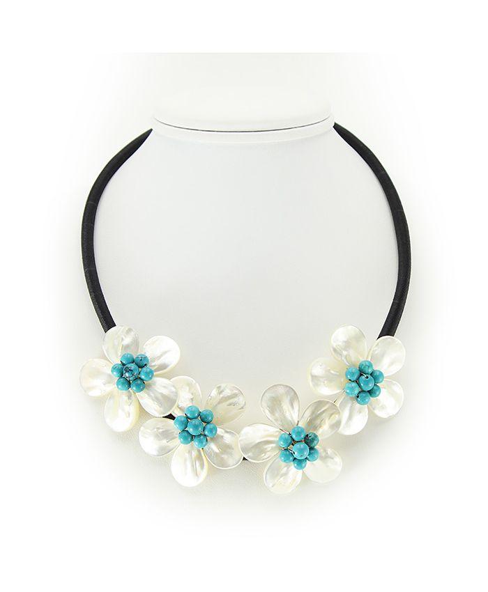 """Ожерелье перламутр с бирюзой """"Фиалки"""", 4 цветка, короткое 48см"""
