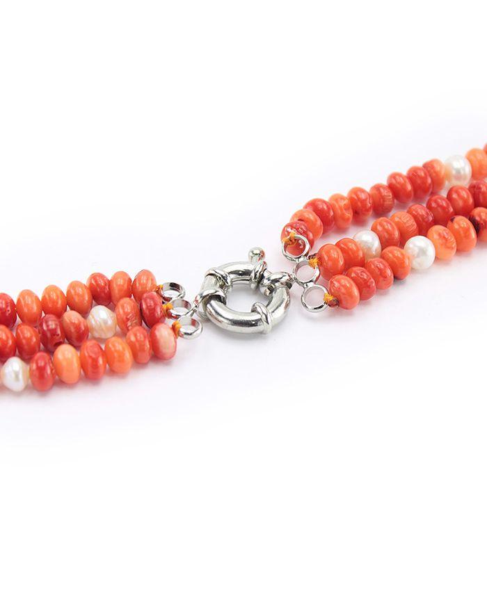 """Коралл оранжевый натуральный  с жемчугом """"Сан-Ремо"""" бусы длина 48 см"""