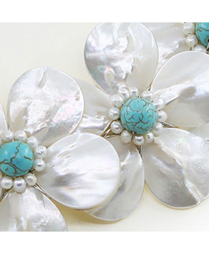 """Колье перламутр белый и бирюза голубая (имитация) """"Фиалки"""" маленькие, 5 цветка, короткое 50см"""