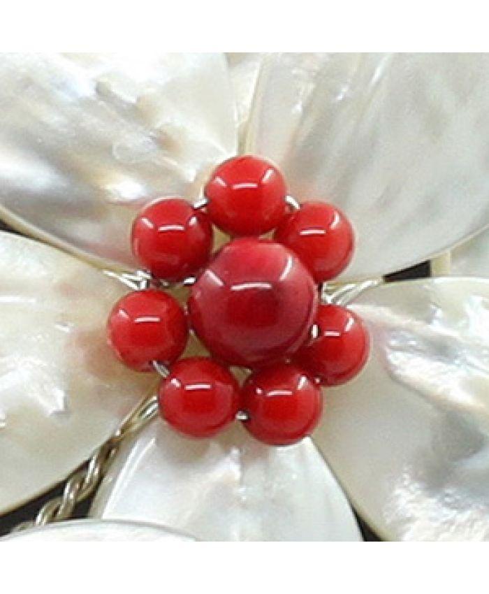 """Колье перламутр белый, коралл красный натуральный """"Фиалки"""", колье 5 цветков, короткое 55см"""
