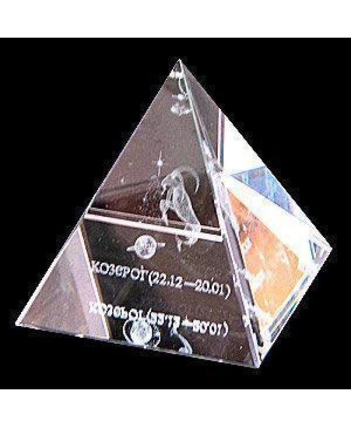"""Стеклянная пирамида """"Зодиак"""" козерог, 50 мм"""