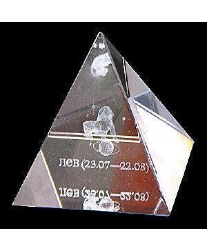 """Хрустальная Пирамида """"Зодиак"""" лев, 50 мм"""