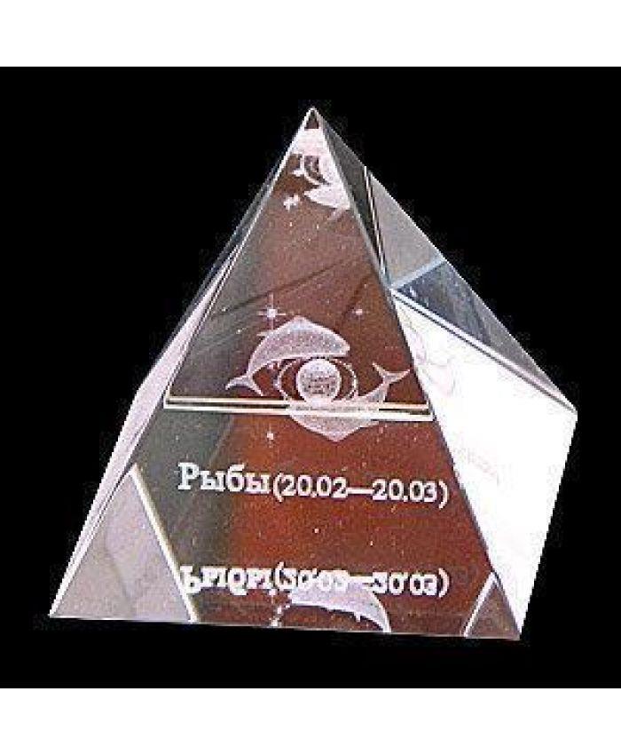 """Стеклянная Пирамида """"Зодиак"""" рыба, 50 мм"""
