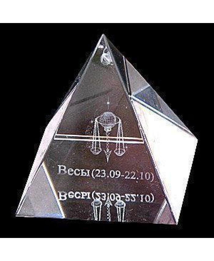 """Хрустальная пирамида """"Зодиак"""" весы, 50 мм"""