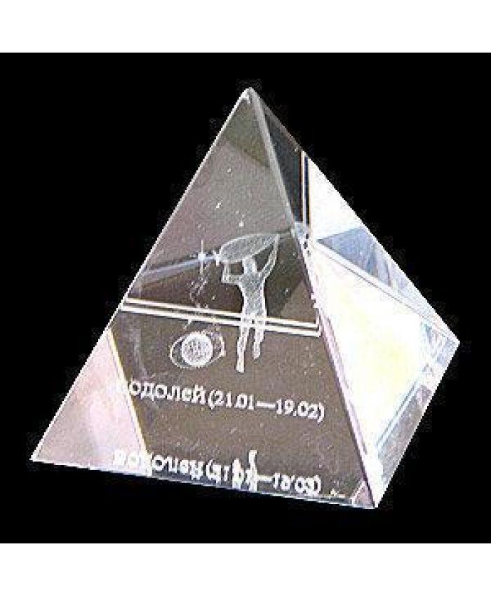 """Хрустальная пирамида """"Зодиак"""" водолей, 50 мм"""