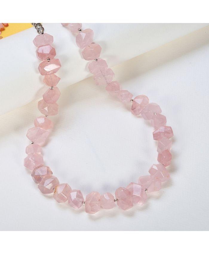 Колье из розового кварца 10-17 мм , длина 53 см