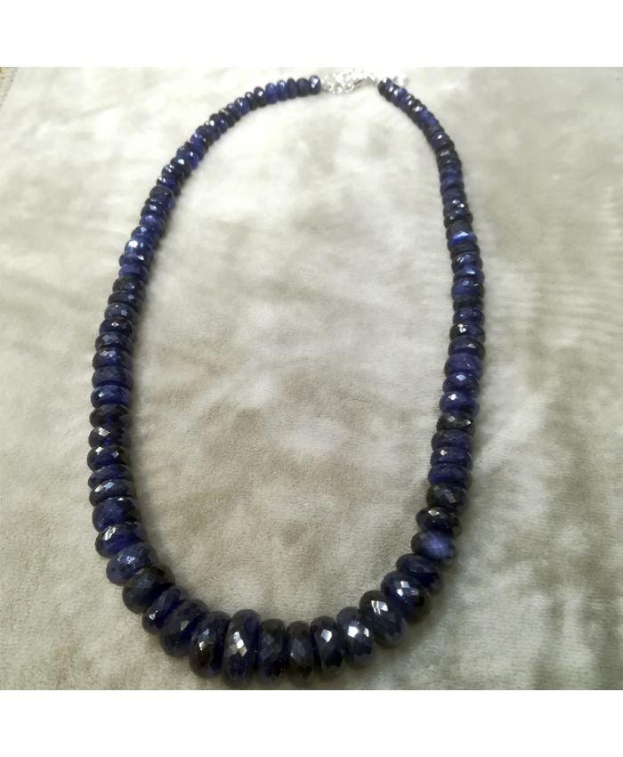 Колье из синего сапфира  короткие 46 см