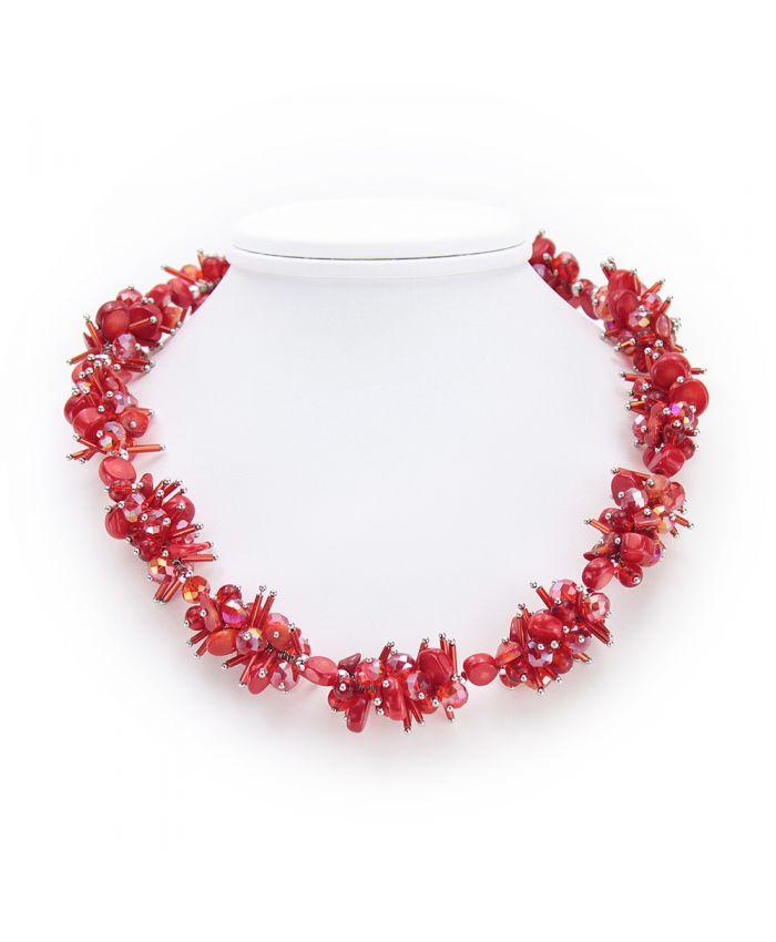 """Авторское ожерелье """"Паулина"""" из гальки красного коралла и декоративных бусин, длина 48см"""