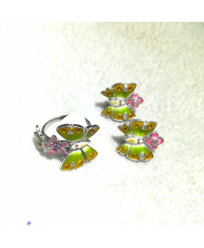 """Серебро с эмалью """"Бабочки"""", кольцо и серьги"""