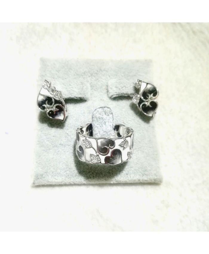 Серебро с эмалью, кольцо и серьги