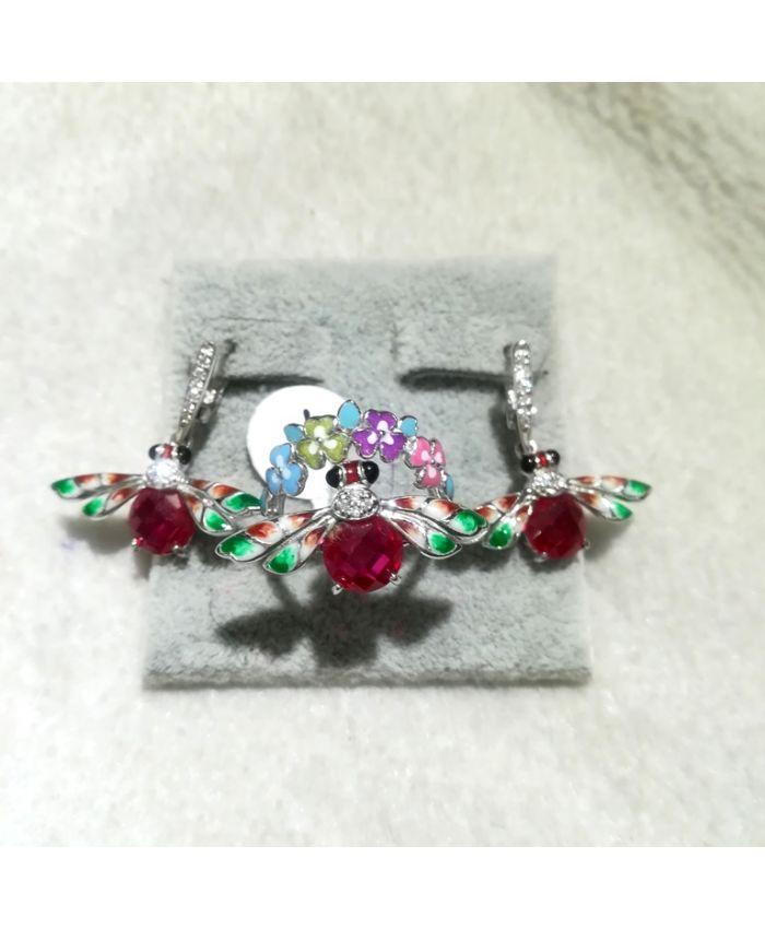 Серебро с эмалью, кольцо, серьги