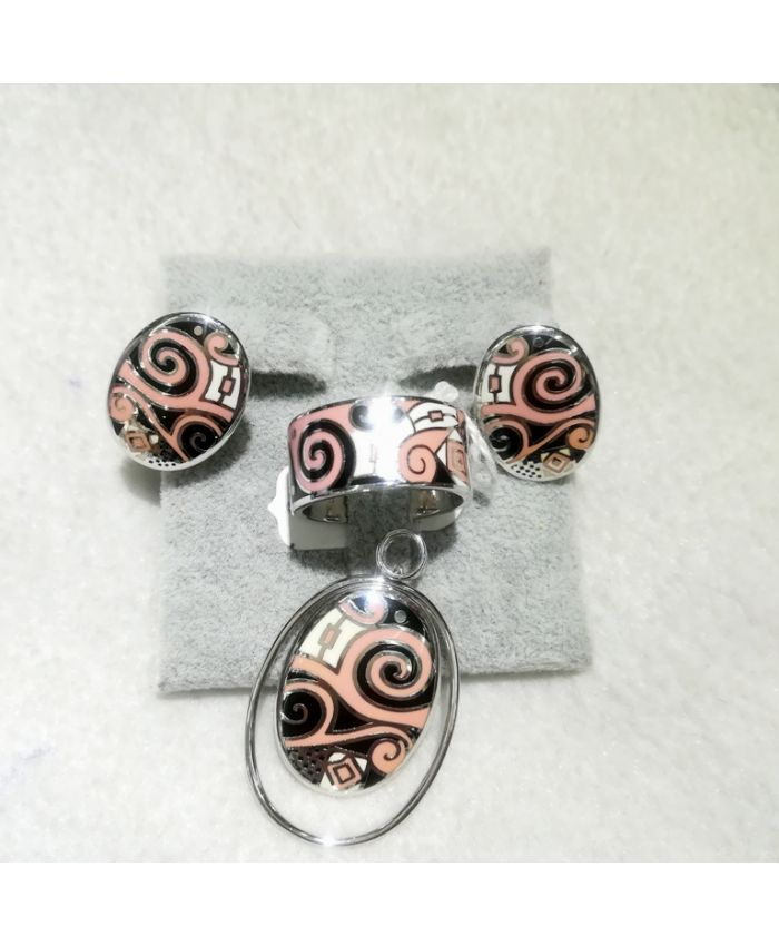 Серебро с эмалью, кольцо, серьги и кулон