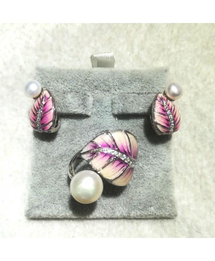 Серебро с эмалью и жемчугом, кольцо, серьги