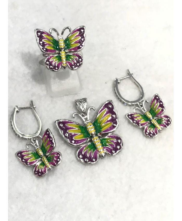 "Серебро с эмалью ""Бабочки"", кольцо, серьги и кулон"