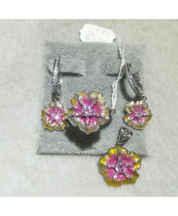 Серебро с эмалью цветок, кольцо, серьги и кулон