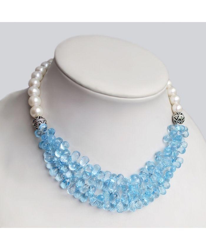 Колье из серебра с топазами SKY Blue Topaz и жемчуг