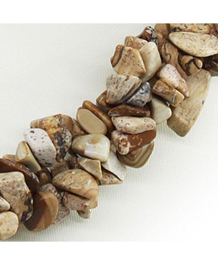 """Комплект из крошки яшмы древесная """"Василиса"""", галька 3х, короткие 45см"""