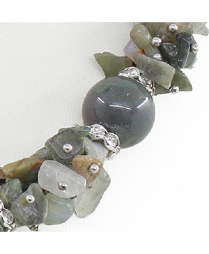 Бусы и браслеты из яшмы  + серьги, длина 45см