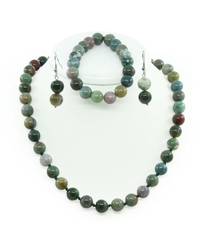 Комплект Бусы, браслет и серьги яшма зеленая, круглые 10мм, короткие 50см