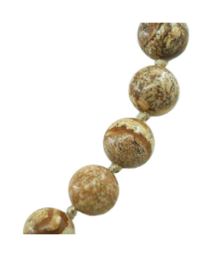 Комплект Бусы, браслет и серьги яшма древесная, круглые 10мм, длина 50см