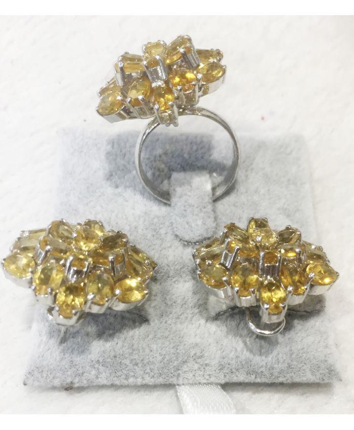 Кольцо и серьги из цитрина в серебре