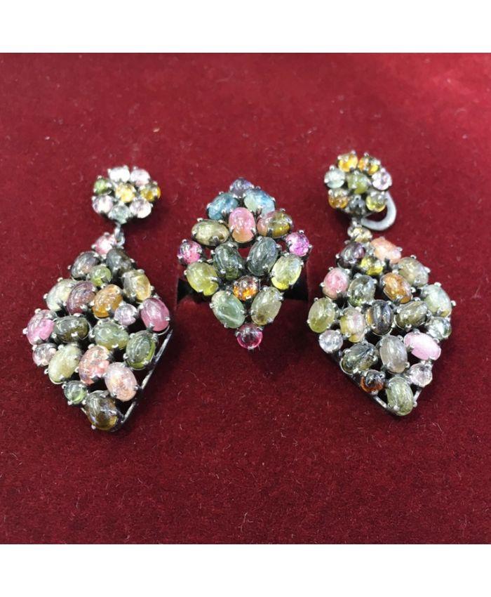 Ювелирные украшения с турмалином в серебре