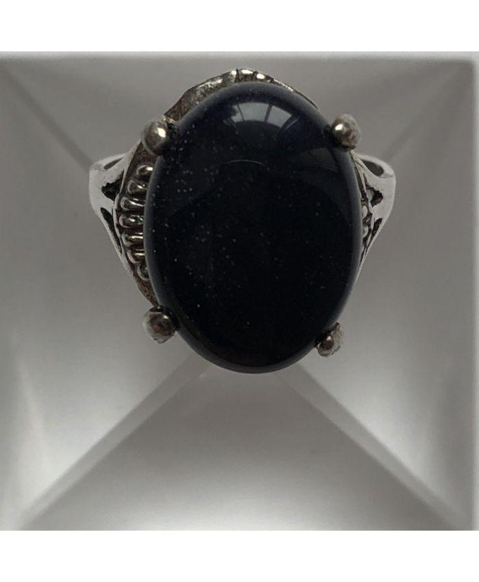 Кольцо из серебра камень авантюрин синий