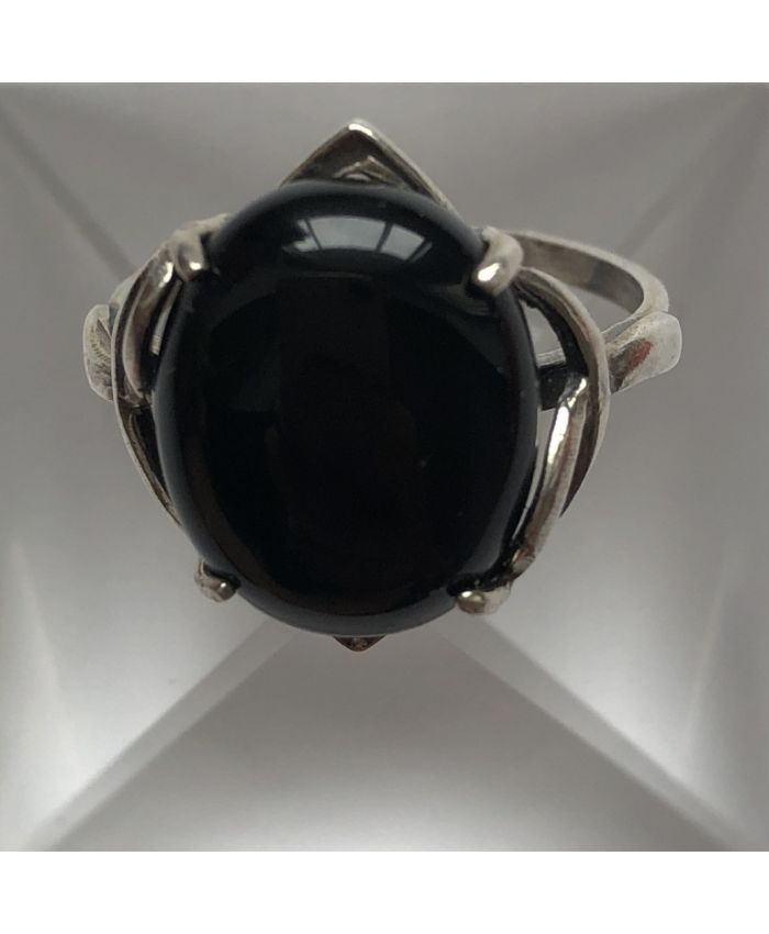 Кольцо из серебра черный агат