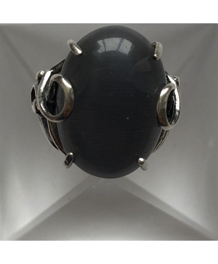 Кольцо из серебра кошачий глаз