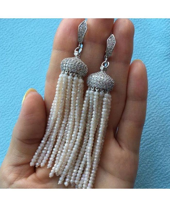 Серьги кисти из бисера хрустальных белые длина 8 - 12см