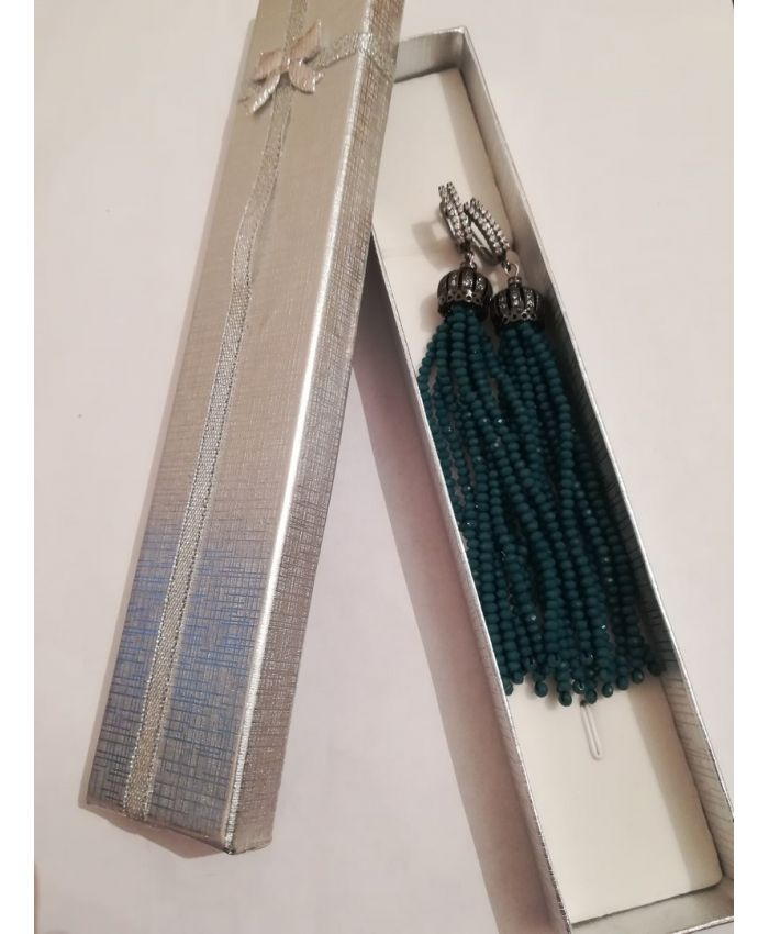 Серьги кисточки из бисера хрустальных бусин  изумрудные длина 8 - 12см