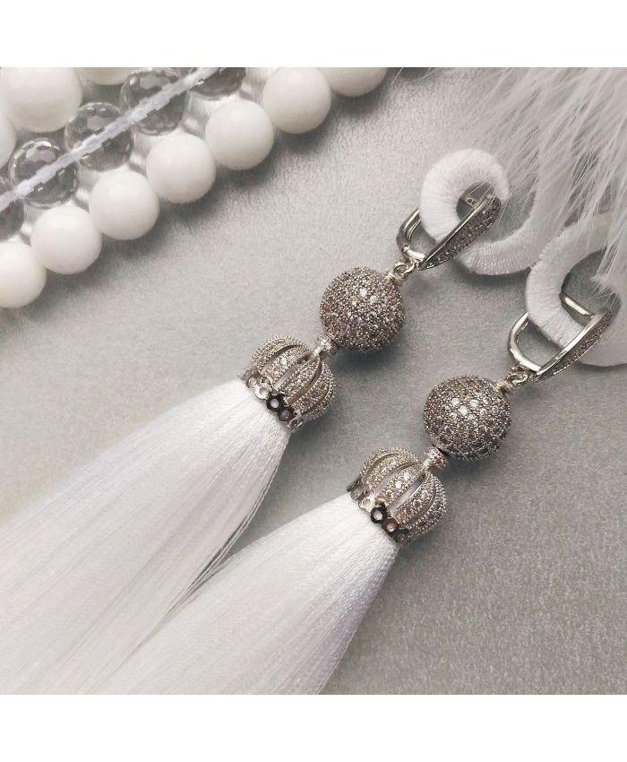 """Серьги кисти """" Premium Lux White"""" шелк белый длина 8-14см"""