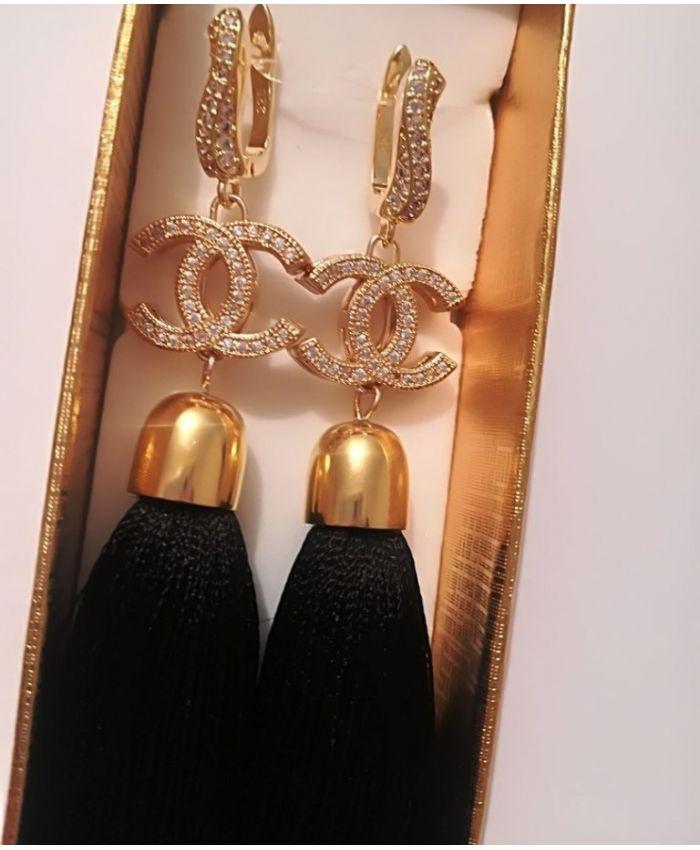 """Серьги кисти шанель длинные """" Chanel"""" черные длина 8 - 14 см"""
