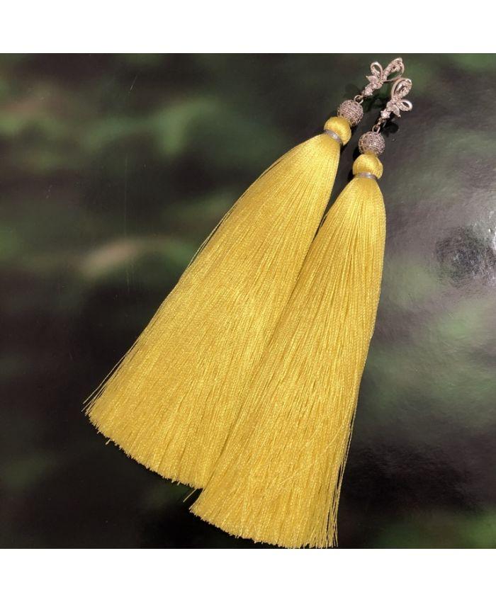 """Серьги кисти """" Premium Lux  Yellow """" желтые длина 8 - 14 см"""