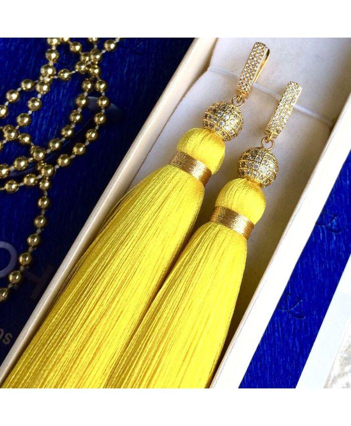 Серьги кисточки желтые длина 8 - 14 см