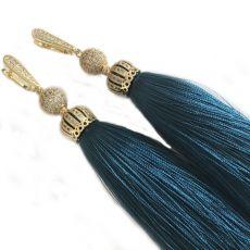 Серьги-кисти Luxury Emerald темно-бирюзовый цвет 8 - 14 см