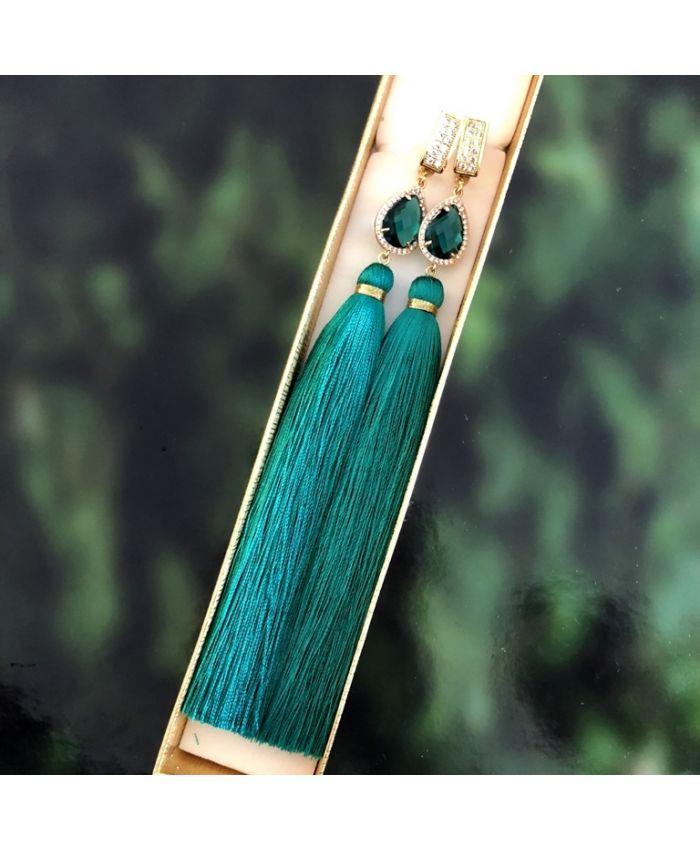 Серьги кисточки шелковые бирюзовые длина 8 - 14 см