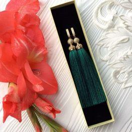 Серьги-кисти зеленые малахитовые