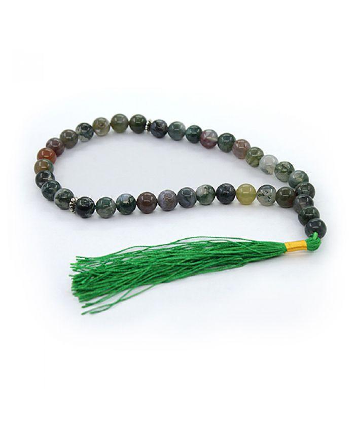 Четки зеленая яшма с хвостиком, круглые 12мм