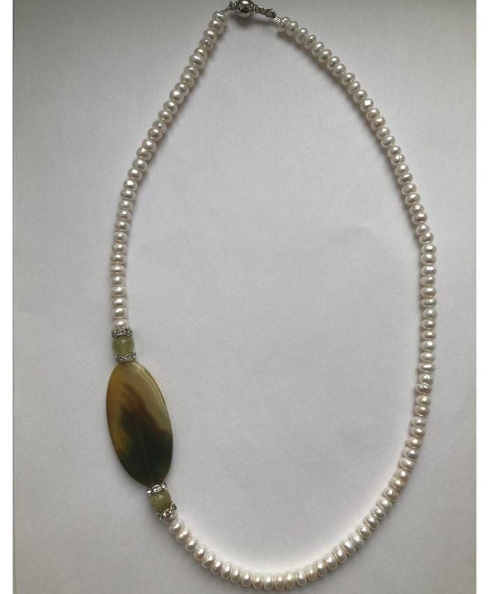Асиметричная ожерелья из жемчуга и агата  длина 55см
