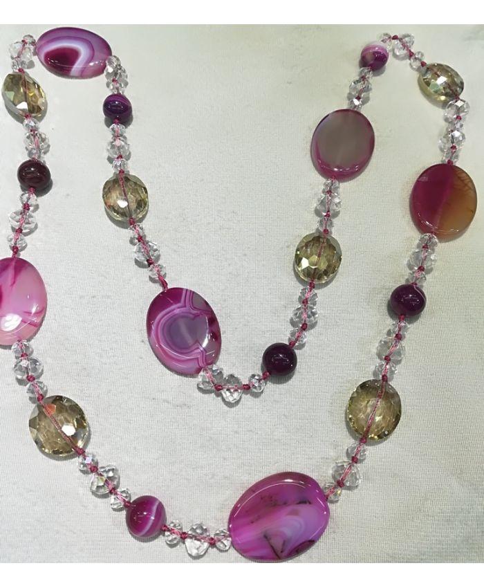 Бусы агат и чешского стекла, розовые камни длина 120 см