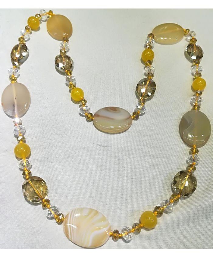 Бусы агат и чешского стекла, желтые камни длина 120 см