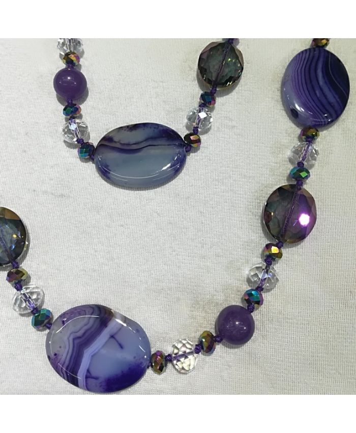 Бусы агат и чешского стекла, фиолетовые камни длина 120 см