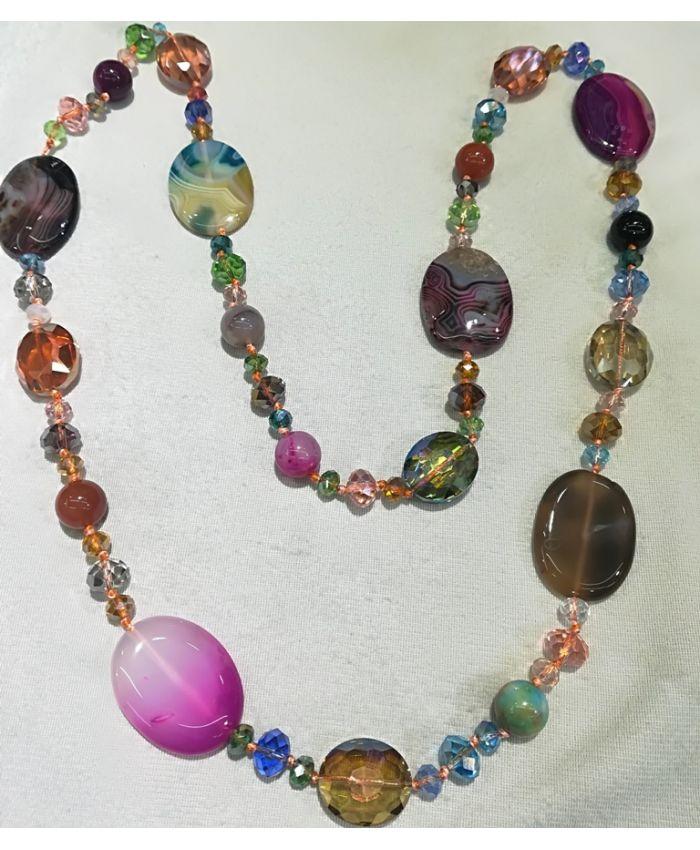 Бусы агат и чешского стекла, разноцветные камни длина 120 см