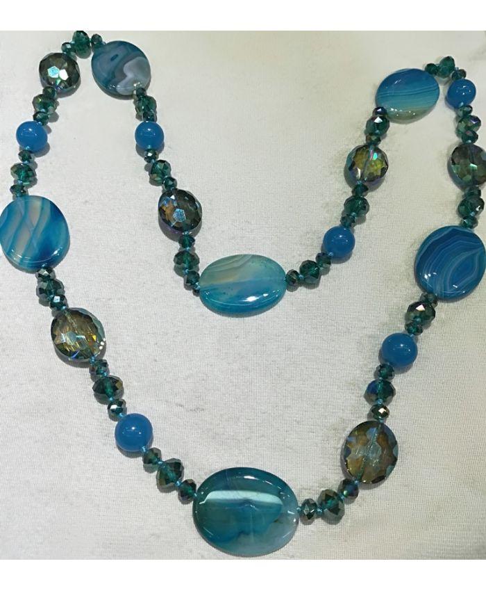Бусы агат и чешского стекла, голубые камни длина 120 см