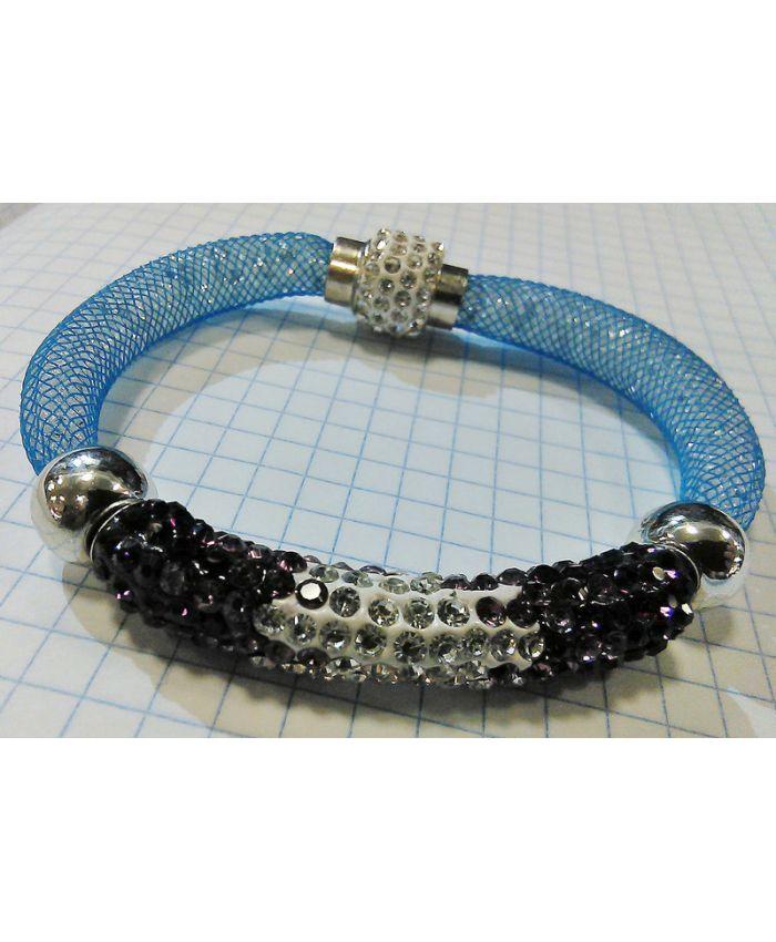 Браслет Stardust голубой с трубкой с кристаллами